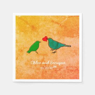 Vogels en het Huwelijk van de Waterverf van het Wegwerp Servet