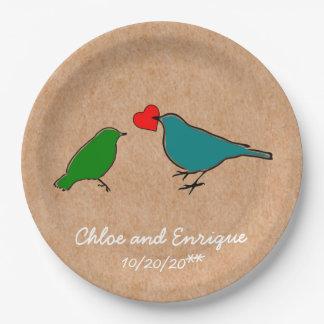 Vogels en Huwelijk van het Hart van de Liefde het Papieren Bordje