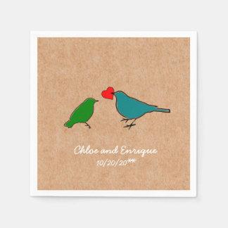Vogels en Huwelijk van het Hart van de Liefde het Wegwerp Servet