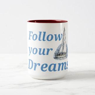 Volg Uw dromen Tweekleurige Koffiemok