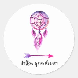 Volg uw droomsticker ronde sticker