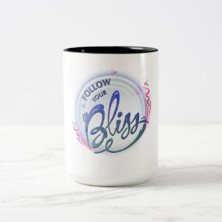 volg uw zaligheid tweekleurige koffiemok