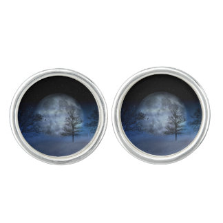 Volle maan achter Bomen Manchetknopen