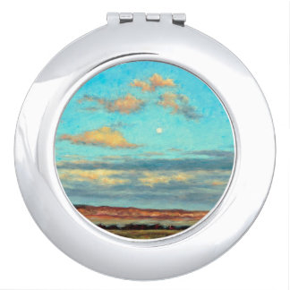 Volle maan bij Schemer in de Compacte Spiegel van Reisspiegeltjes