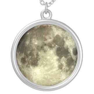 Volle maan zilver vergulden ketting
