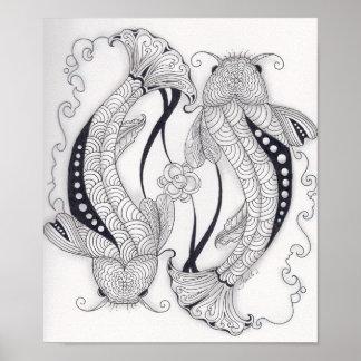 Volledig - de Vissen van Koi van de grootte Poster