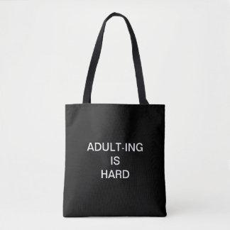 """""""Volwassen-ING IS HARD"""" Canvas tas"""