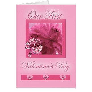 voor de Eerste Valentijnsdag Roze Daisy van de Wenskaart