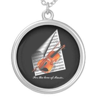 Voor de liefde van Muziek Zilver Vergulden Ketting
