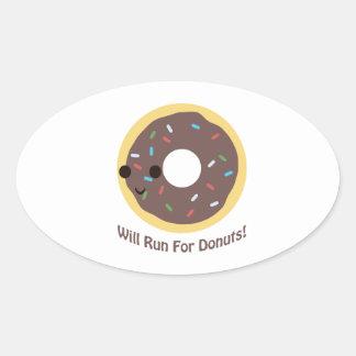 Voor Donuts - chocolade zal lopen Ovaalvormige Sticker