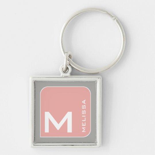 voor haar een modern roze vierkant logomonogram zilverkleurige vierkante sleutelhanger