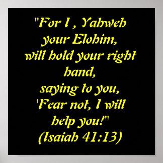 """""""Voor I, zal Yahweh uw Elohim, uw ri… Poster"""