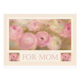 voor mamma geïllustreerde roze bloemen wens kaart
