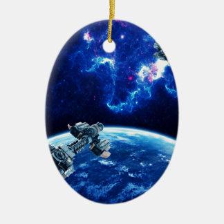 Voorbij het Blauw Keramisch Ovaal Ornament