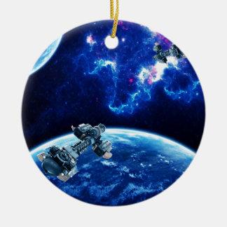 Voorbij het Blauw Rond Keramisch Ornament