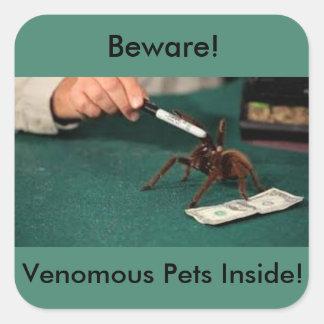 Voorzichtig zijn! Giftige Huisdieren binnen! Vierkante Sticker