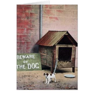 Voorzichtig zijn van hondteken met kleine hond kaart