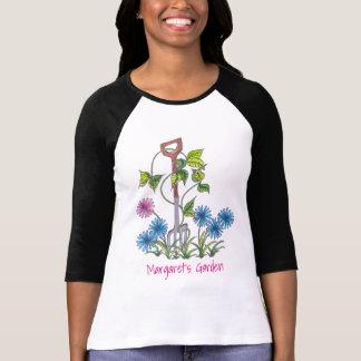 Vork en bloemen met uw naam en tekst t shirt