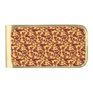 Vorstelijk Gouden en Robijnrood Rood Barok Patroon Vergulde Geldclip