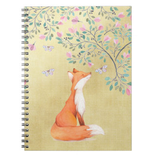Vos met Vlinders en Roze Bloemen Ringband Notitieboek