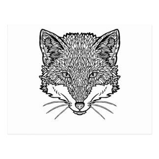 Vos-tattoo kunst - Zwarte lijnIllustratie Briefkaart