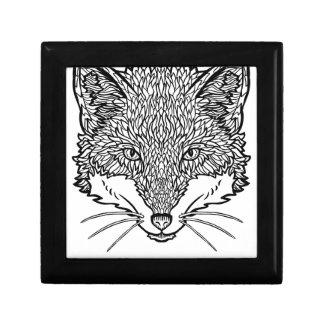 Vos-tattoo kunst - Zwarte lijnIllustratie Decoratiedoosje