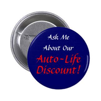Vraag me over Onze Korting van het auto-Leven -- K Ronde Button 5,7 Cm