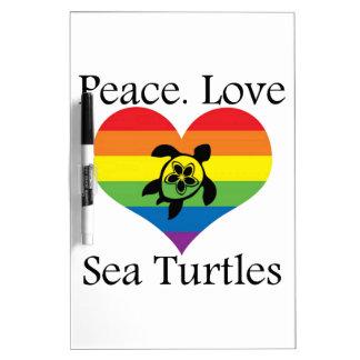 Vrede. Liefde. De schildpadden van het zee Dry Erase Whiteboards