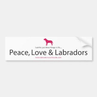 Vrede, Liefde & Labradors Bumpersticker