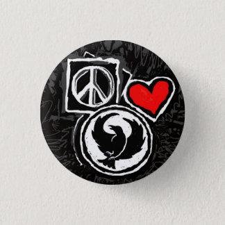 Vrede, Liefde, Ranonkel Ronde Button 3,2 Cm