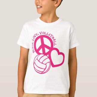 Vrede-liefde-volleyball. roze t shirt