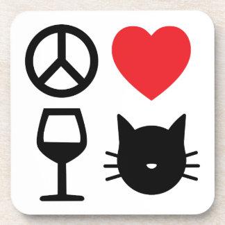 Vrede, Liefde, Wijn en Katten 2 Drankjes Onderzetters