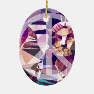 Vrede New York Keramisch Ovaal Ornament