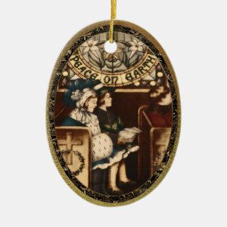 Vrede op de Wijnoogst van de Aarde Keramisch Ovaal Ornament