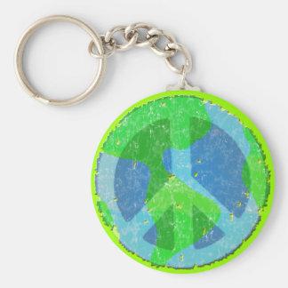 Vrede ter wereld Keychain Basic Ronde Button Sleutelhanger