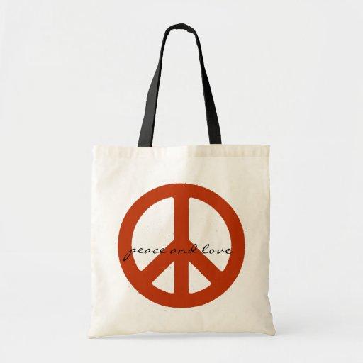 vredes teken, retro hippies canvas tassen