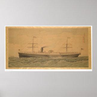 Vreedzaam Stoomschip Sacramento (1607A) Poster