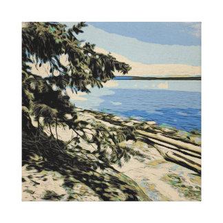 Vreedzame de houtsnedestijl van het Strand Canvas Print