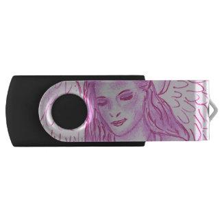 Vreedzame Engel in Roze Swivel USB 2.0 Stick