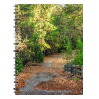 Vreedzame weg door herfstgebladerte notitieboek