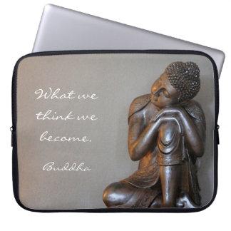 Vreedzame zilveren Boedha Computer Sleeve