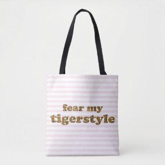 Vrees mijn Tigerstyle   Gestreept Roze van het Draagtas