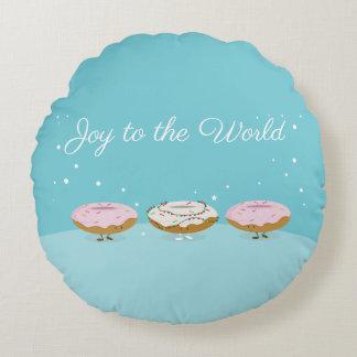Vreugde aan de Wereld Donuts | Rond Hoofdkussen Rond Kussen