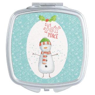 Vreugde en Vrede | Leuke Kerstmis van de Sneeuwman Handtas Spiegeltje