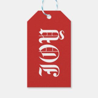 Vreugde op het Rode Label Achtergrond van de Gift Cadeaulabel