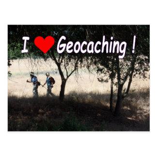 Vreugde van briefkaart Geocaching: Wandelaars