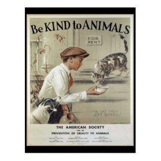 Vriendelijk ben aan Dieren - Vintage Poster Briefkaart