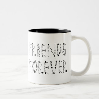 Vrienden voor altijd tweekleurige koffiemok