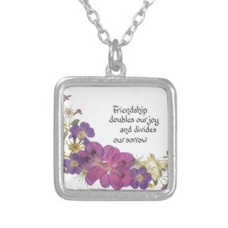 Vriendschap en bloemen ketting vierkant hangertje