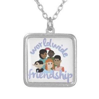 Vriendschap wereldwijd ketting vierkant hangertje